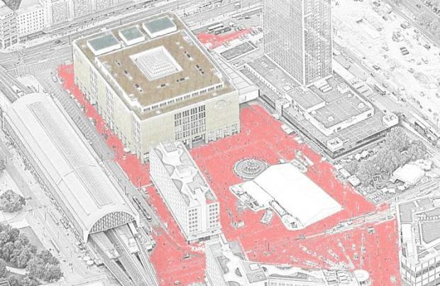 Alexanderplatz y el gran almacen (el color rojo no es el original...)