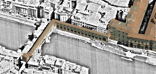 El corredor de Vasari, entre los palacios Viejo y Pitti, como elemento estructurante