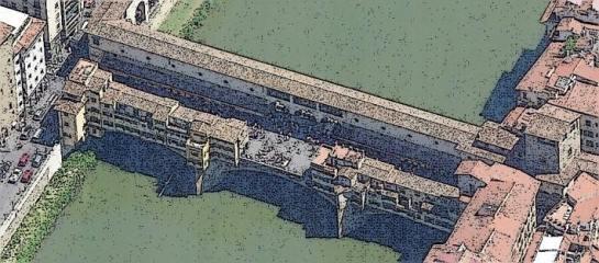 Vista desde el lado opuesto, con la plaza en el centro del puente
