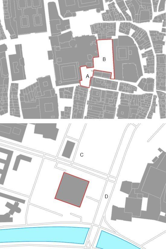 Dos euro-acres: en la imagen superior, plazas de Platerías (A) y la Quintana (B), en Santiago de Compostela, y en la imagen inferior, la Nueva Galería Nacional de Berlín, junto a la iglesia de San Mateo y la Postdamer Strasse