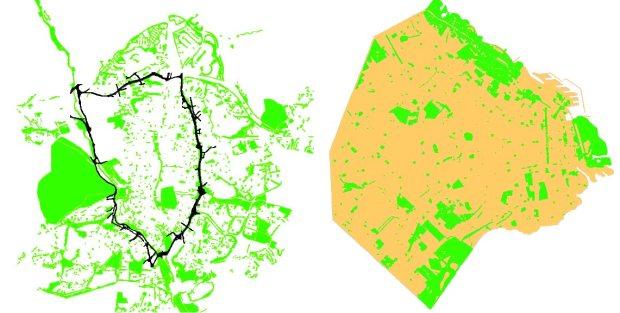 Espacios libres públicos definidos en el planeamiento. Buenos Aires a la izquierda, Madrid a la derecha (M30 en negro)