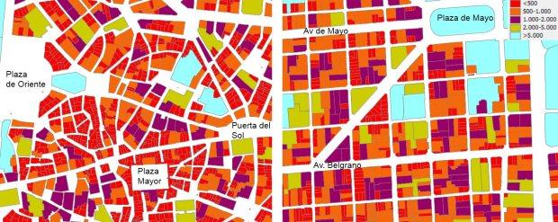 Superficie de las parcelas en m2 del centro antiguo de Madrid (izquierda) y del barrio de San Telmo en Buenos Aires