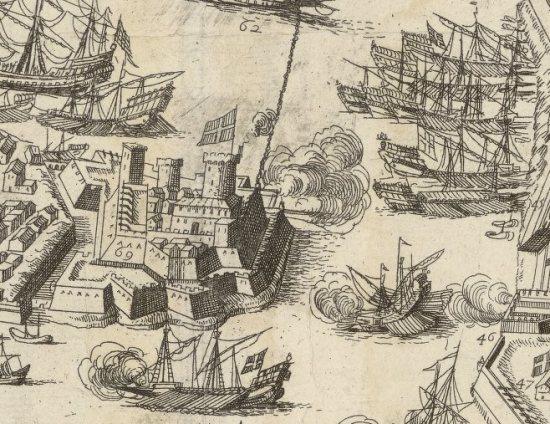 El castillo del Santo Angel en el mapa de 1645