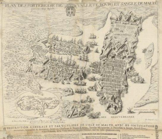 Mapa de las fortalezas de La Valleta, de H Boulange, 1645. Grabado representativo de la ciudad del siglo XVII, que puede ser visto con más detalle en gallica.bnf.fr con la signatura GE C2362