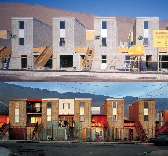 """Proyecto del estudio Elemental, en Chile. En la imagen superior, las viviendas tal y como se entregan. En cada """"L"""" hay una vivienda en planta baja y una vivienda de dos plantas en el nivel superior. En la imagen inferior, el conjunto pasado un tiempo."""