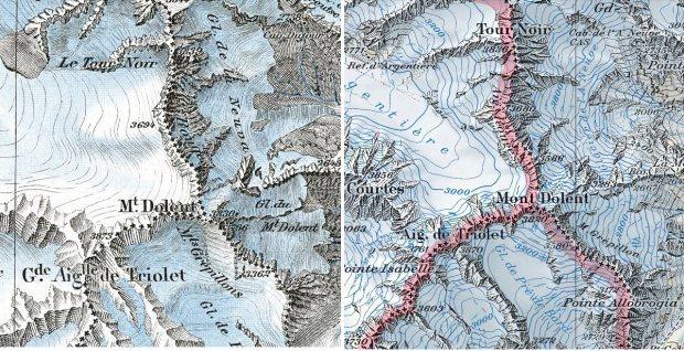 Mont Dolent, el punto de triple frontera entre Suiza, Italia y Francia. En 1938 (izquierda) y actualmente. Parece que los glaciares retroceden...