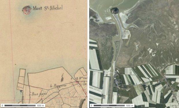 El Mont-Saint-Michel a mediados del siglo XIX y en la actualidad. Imagenes de gallica.fr