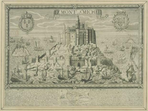 Mont-Saint-Michel, Jollain (1680-1690). Puede consultarse la imagen original en Gallica.fr en la dirección http://gallica.bnf.fr/ark:/12148/btv1b55004671p