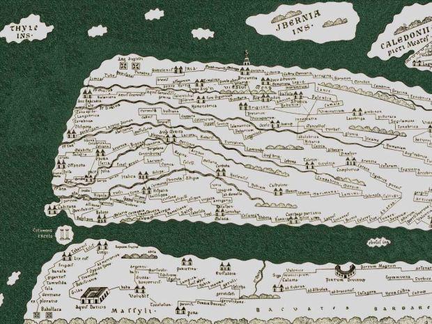 La península ibérica en la hoja perdida y reconstruida. Se pueden ver, entre otras cosas, Gibraltar como las columnas de Hércules, Lisboa (Olissipo) y Betanzos (Brigantium)