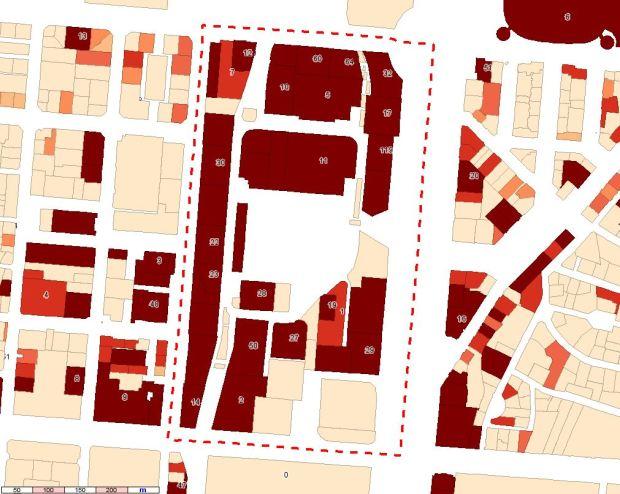 Superficie de oficinas por parcela y, para ciertas parcelas, número de locales catastrados como oficinas