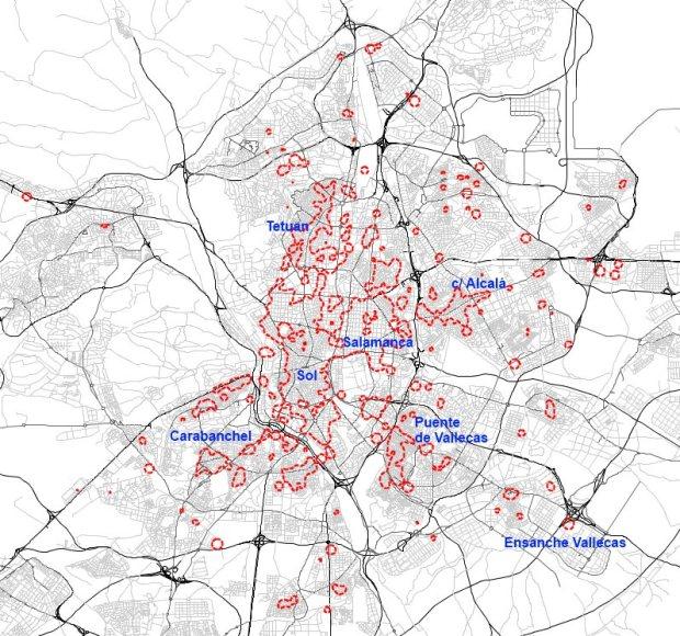 Zonas con la mayor concentración comercial (superficie catastral de locales) en 2013