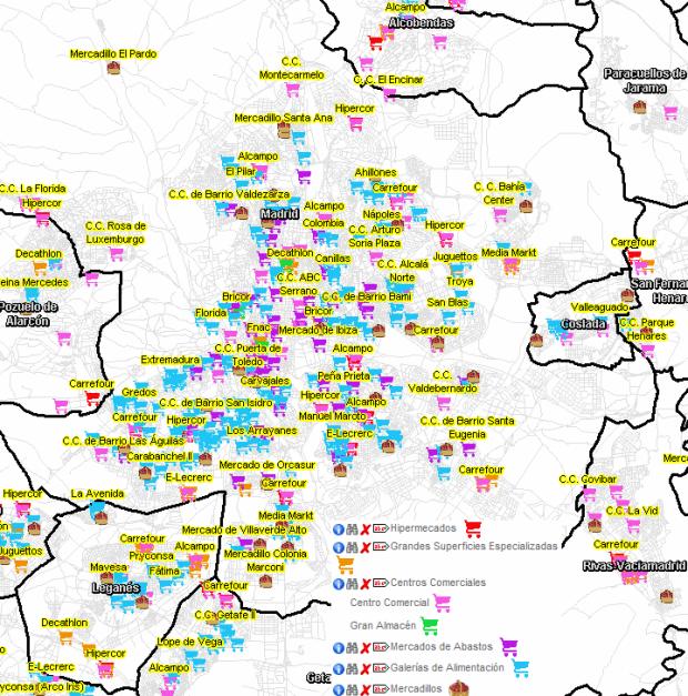 Principales elementos comerciales de Madrid y los municipios cercanos del área metropolitana