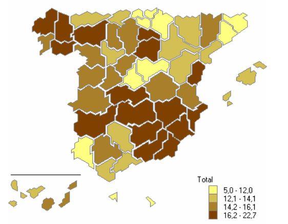 Porcentaje de viviendas vacías en 2011, por provincia