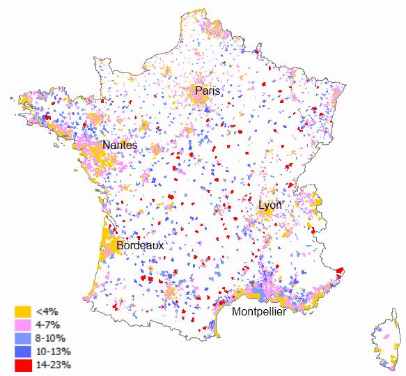 Porcentaje de viviendas vacías sobre el total, en municipios franceses mayores de 2.000 habitantes (2009)