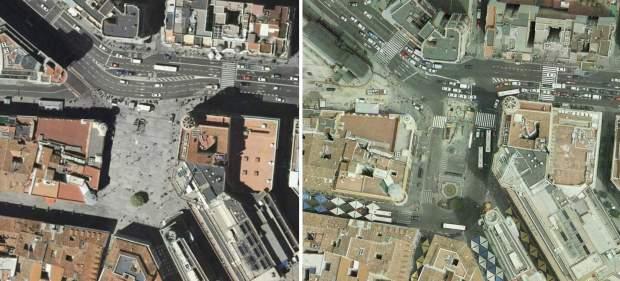 La plaza de Callao en 2009 (izquierda) y 2006. Una de las aceras más transitadas de Madrid se convierte en una gran explanada peatonal
