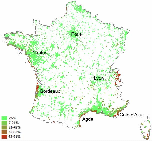 Proporción de segundas viviendas en los municipios franceses de más de 2.000 habitantes