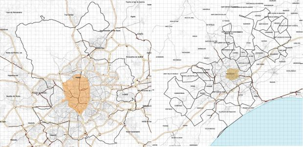 Madrid y Montpellier a la misma escala (marcas 1 km). Se indican también los espacios centrales objeto de planes especiales