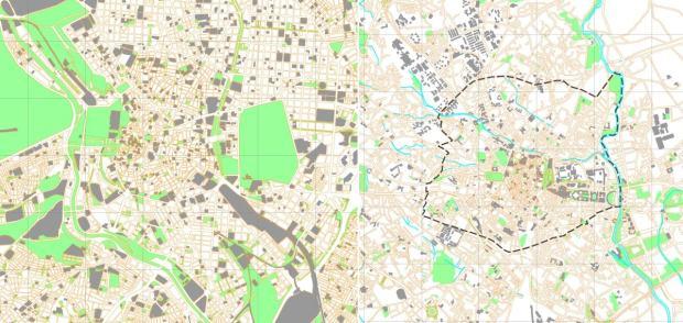 Comparación a la misma escala (reticula 1 km) de los centros de Madrid y Montpellier