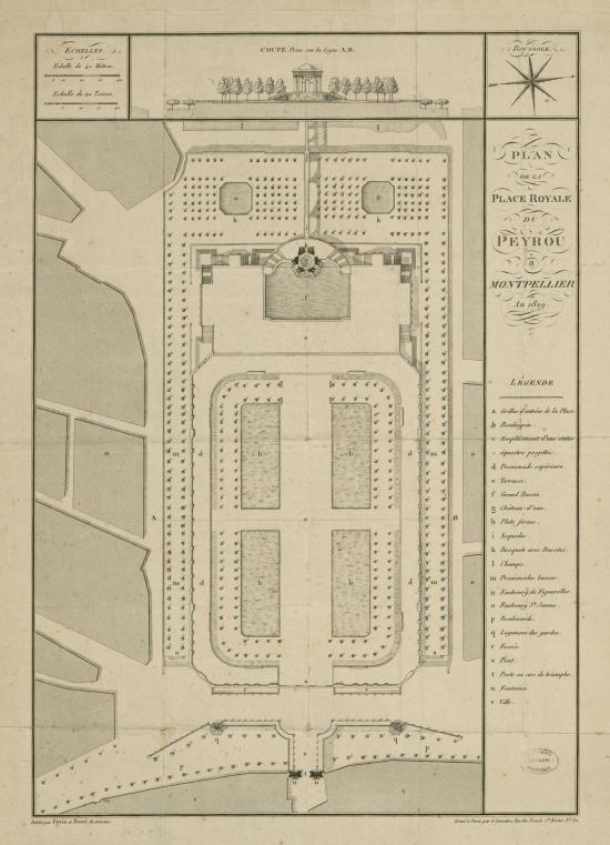 Plan de la Place Royale du Peyrou-1819- Fovis+Boué. El documento original puede verse en www.gallica.fr