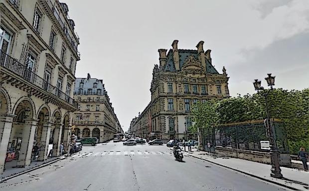 El final del Louvre y comienzo de las Tullerías (todo esto a la derecha), visto desde el oeste.