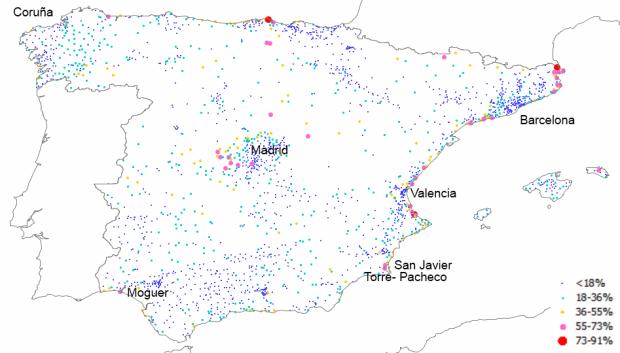 Proporción de segundas viviendas en los municipios españoles de más de 2.000 habitantes