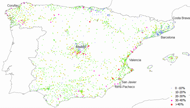 Porcentaje de vivienda vacías sobre el total, en municipios españoles mayores de 2.000 habitantes (2011)