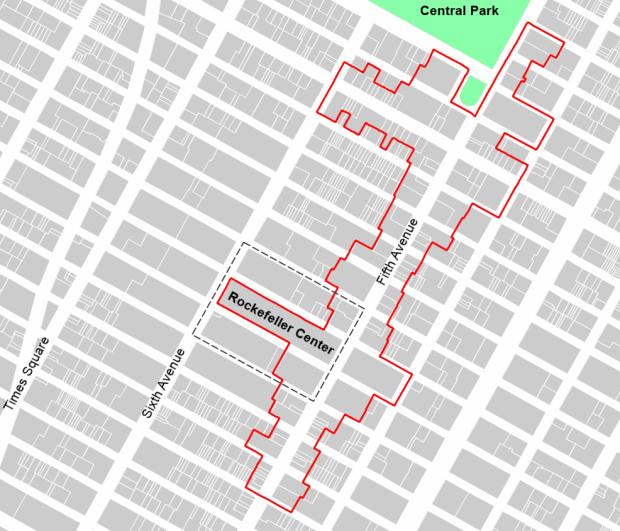 1,2 km de quinta avenida, incluidos en el Bussiness Improvement District (delimitado en rojo)