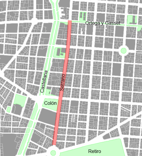 Serrano: 1,3 km de centralidad, 31 m de anchura