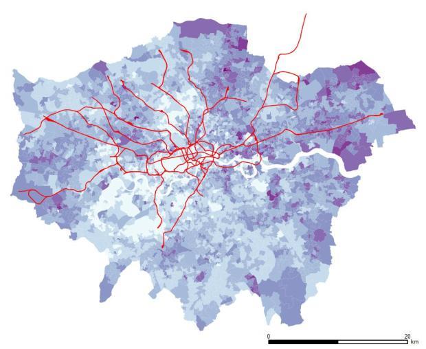 Población sin formación en el conjunto de Londres. El este, y especialmente el noreste, se presentan como las zonas con mayores valores.