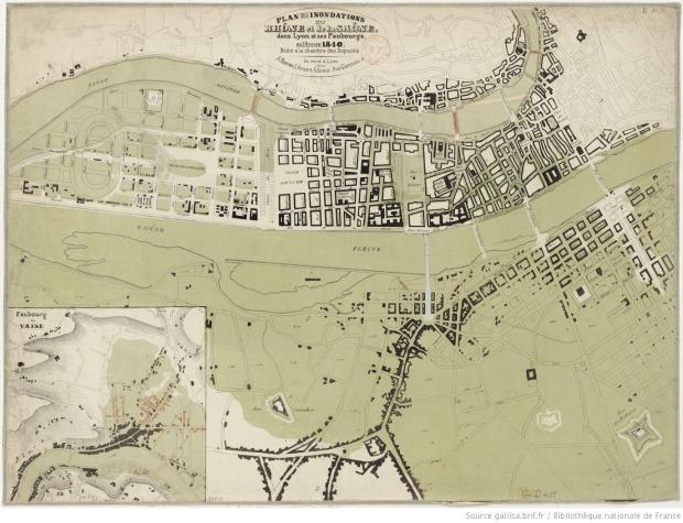 Inundación de 1849 en Lyon. Imagen original en http://gallica.bnf.fr/ark:/12148/btv1b8443231b.r=innondation+lyon.langES