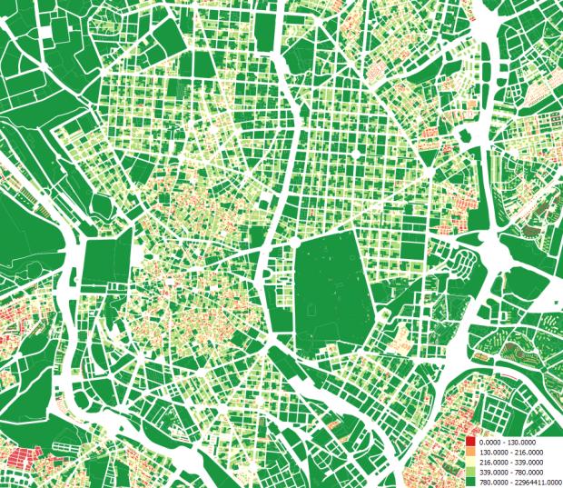 Superficie de las parcelas en el centro de Madrid, en m2