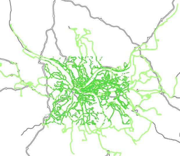 Pittsburgh, líneas de autobuses de la Port Authority y paradas en la zona central
