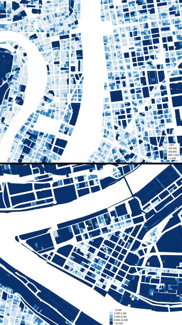 Centros urbanos de Lyon y Pittsburgh a la misma escala. Superficies de parcelas en m2 para Lyon y en pies cuadrados para Pittsburgh (se que 10 pies cuadrados no son exactamente 1 m2, pero es una dimensión próxima que permite además orientar a los aguerridos usuarios del sistema imperial... y también a nosotros, los métricos, con órdenes de magnitud perfectamente comparables)