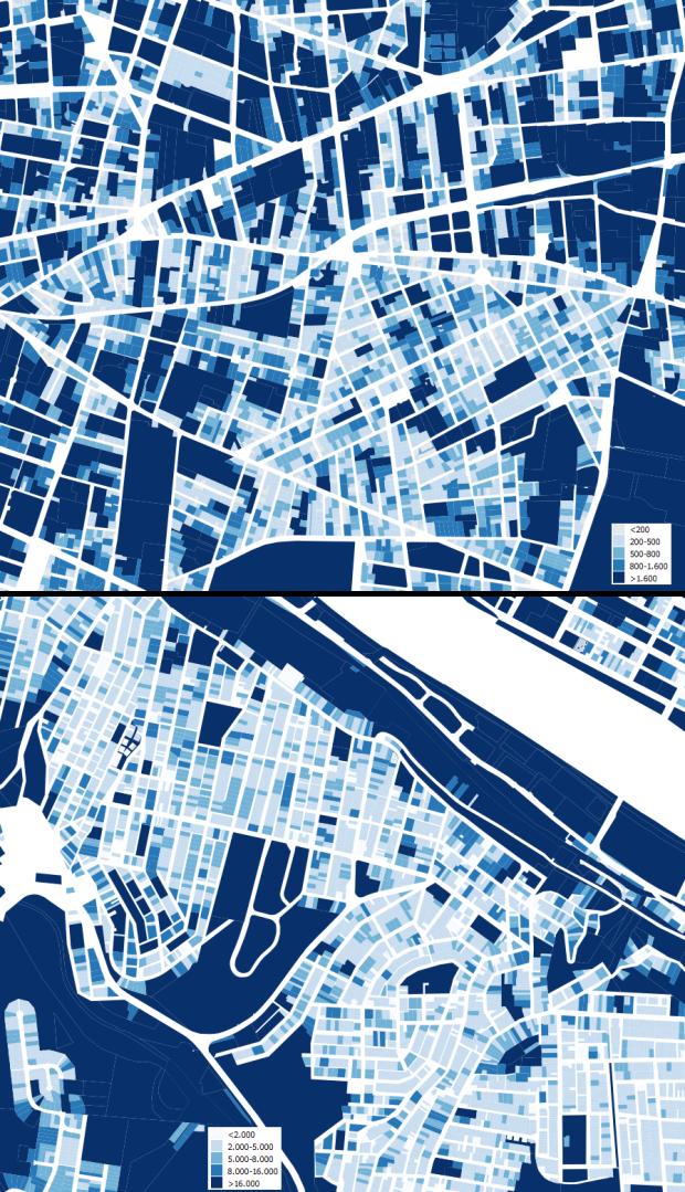 Representación a la misma escala de barrios periféricos del centro de Lyon (Montchat) y Pittsburgh (Mt Washington)