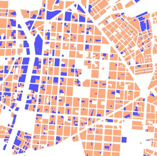 Uso principal por parcela: actividades (azul) y residencial (naranja)  en el avance de la revisión del PGOUM