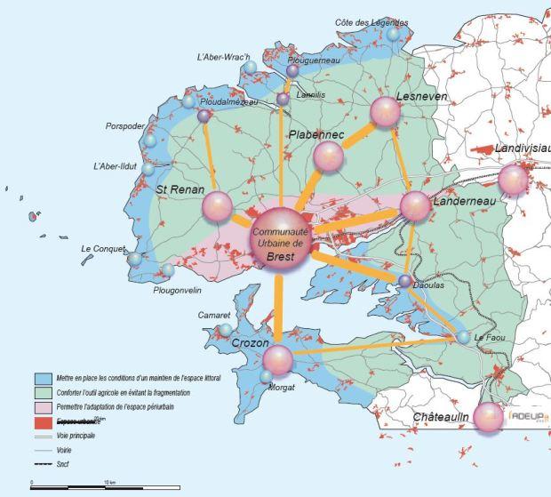 El modelo territorial del SCOT de Brest: se da una especial importancia a la conservación de la franja costera y al mantenimiento de las zonas agrarias tradicionales. El crecimiento urbano debe seguir una serie de reglas, dirigiendose prioritariamente a la expansión lineal de la ciudad principal a lo largo de la orilla norte de la bahía.