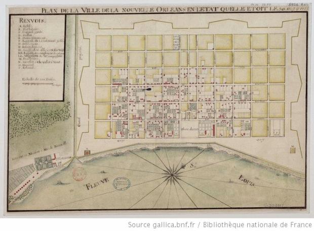 Nueva Orleans en 1744. La ciudad ya tiene elementos de realidad, como parcelas y edificaciones, la posición de la ciudad frente al río es también más real, al igual que las dimensiones