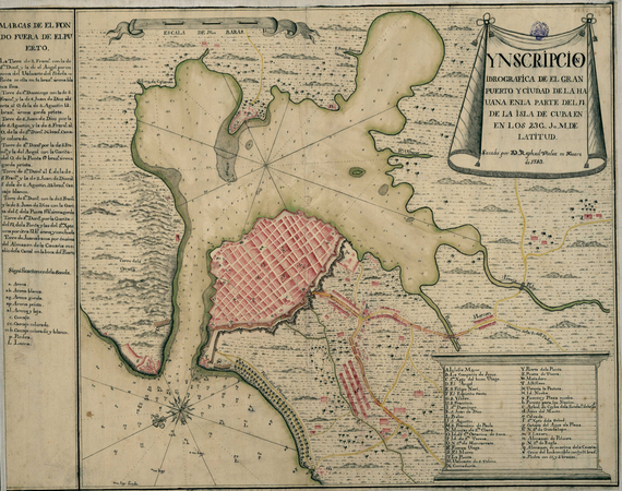 La Habana en 1743. Una ciudad orientada hacia el canal y la bahía, con murallas que la protegen de la costa hacia mar abierto, menos defendible.