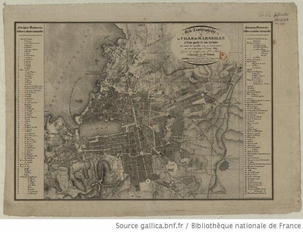 Marsella en 1836, con un importante crecimiento en apenas un siglo.