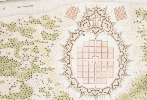 El proyecto de Nueva Orleans en 1718. Un proyecto un tanto ingenuo, con escalas poco ajustadas a la realidad (vease la distancia entre río y lago Pontchartrain)