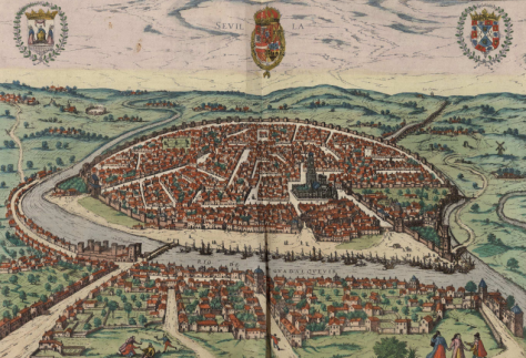 Sevilla en 1590. Una ciudad importante en extensión, relevante en la relación de Europa con América.
