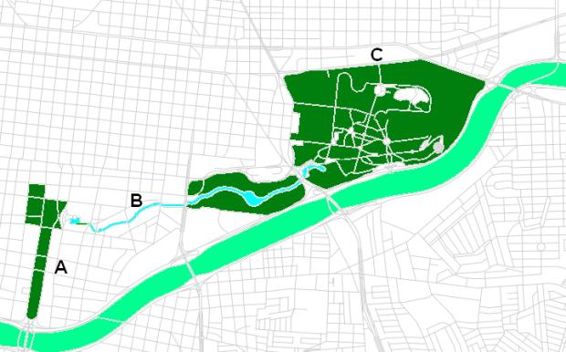 A- Macroplaza (centros gubernamentales de diferentes niveles, museos de arte e historia), B- Canal de Santa Lucía, C- Parque Fundidora