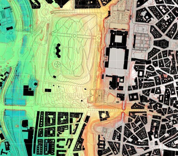 Curvas de nivel con intervalo de 1 m y malla de referencia de 100 m. La zona del río presenta datos extraños, dado que los datos de origen probablemente fueron tomados durante la obra de la M30.