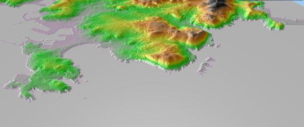 """El relieve, primera escala de """"grano"""". La Coruña según datos altimétricos IGN"""