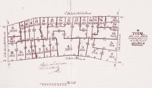 Una hoja de la Planimetría de Madrid de 1749