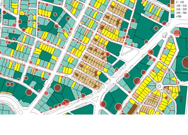 El Viso. Superficie de las parcelas. Los círculos rojos son proporcionales a la superficie residencial en cada una según datos catastrales